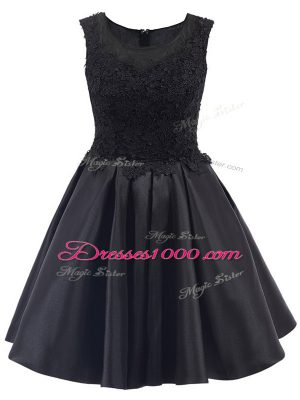 Black A-line Satin Scoop Sleeveless Lace Mini Length Zipper Quinceanera Court Dresses