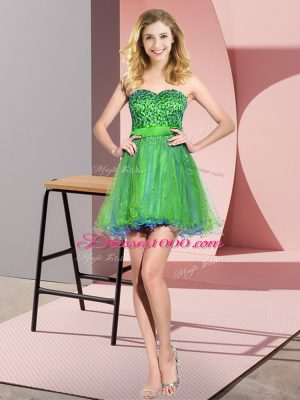 Sleeveless Mini Length Beading and Sequins Lace Up Bridesmaid Dress with Multi-color