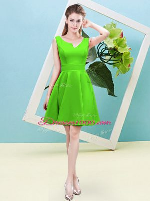 Classical Satin Zipper Wedding Party Dress Sleeveless Mini Length Ruching