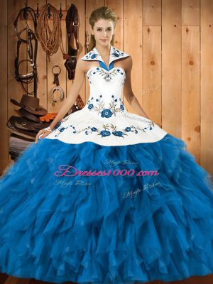 High End Satin and Organza Halter Top Sleeveless Lace Up Embroidery and Ruffles Ball Gown Prom Dress in Teal
