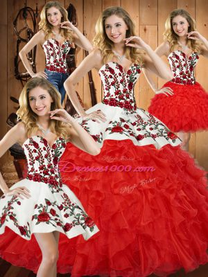 Tulle Sweetheart Sleeveless Lace Up Embroidery and Ruffles Quince Ball Gowns in Red