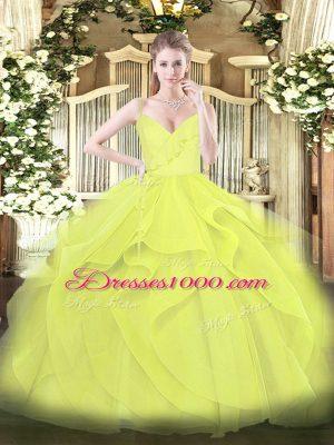 Yellow Green and Yellow Zipper Vestidos de Quinceanera Ruffles and Ruching Sleeveless Floor Length