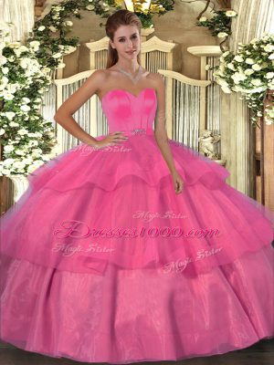 Unique Ball Gowns 15th Birthday Dress Hot Pink Sweetheart Organza Sleeveless Floor Length Lace Up
