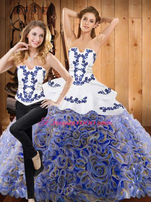 Custom Fit Multi-color Lace Up Quinceanera Dress Embroidery Sleeveless Brush Train