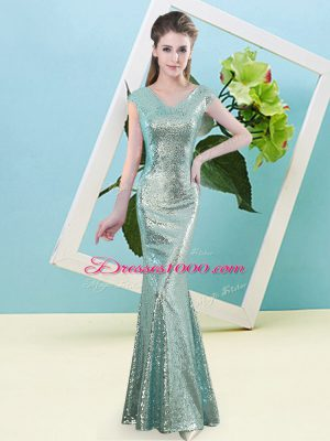 New Style Teal Dress for Prom Prom and Party with Sequins V-neck Cap Sleeves Zipper