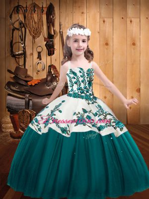 Floor Length Teal Little Girl Pageant Gowns Straps Sleeveless Lace Up