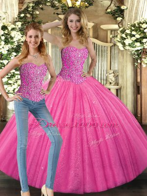 Glittering Floor Length Hot Pink Quinceanera Dress Sweetheart Sleeveless Lace Up