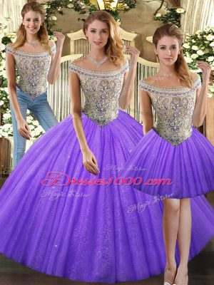 Tulle Sleeveless Floor Length 15 Quinceanera Dress and Beading