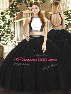 Black Halter Top Neckline Ruching 15th Birthday Dress Sleeveless Backless
