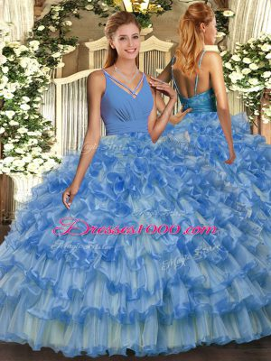Ball Gowns Quinceanera Dress Blue V-neck Organza Sleeveless Floor Length Backless
