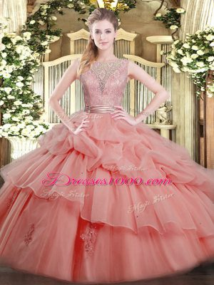 Most Popular Tulle Scoop Sleeveless Backless Beading and Ruffled Layers 15 Quinceanera Dress in Watermelon Red