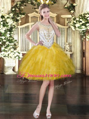 High Quality Gold Ball Gowns Tulle Scoop Sleeveless Beading and Ruffles Mini Length Zipper Prom Dresses