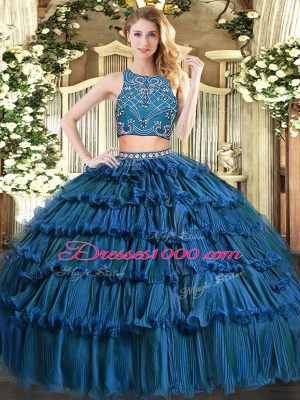 Clearance Sleeveless Floor Length Beading and Ruffled Layers Zipper Quinceanera Dresses with Teal