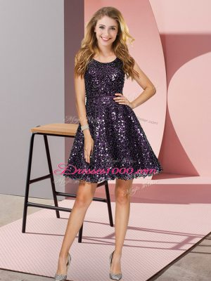 New Style Mini Length Black And Purple Wedding Guest Dresses Scoop Sleeveless Zipper