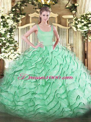 New Arrival Apple Green Organza Zipper Straps Sleeveless Sweet 16 Quinceanera Dress Brush Train Ruffled Layers