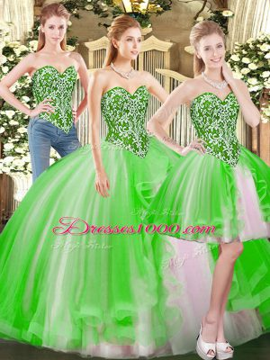 Inexpensive Sleeveless Floor Length Beading Lace Up Quinceanera Gown with