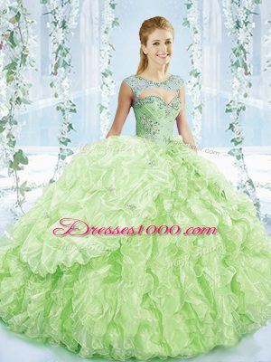 Cheap Sleeveless Organza Brush Train Lace Up 15th Birthday Dress in Yellow Green with Beading and Ruffles and Pick Ups