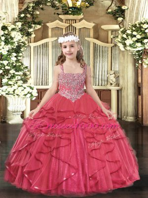 Floor Length Coral Red Kids Formal Wear Tulle Sleeveless Beading and Ruffles