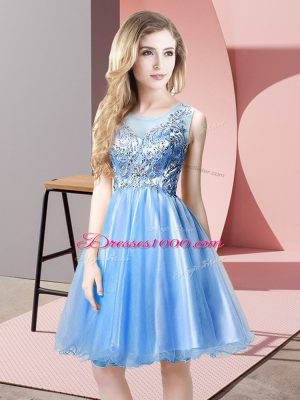 Exceptional Knee Length A-line Sleeveless Baby Blue Prom Party Dress Zipper