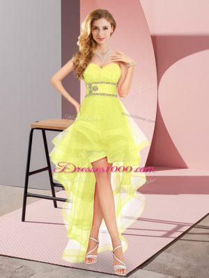 Yellow A-line Tulle Sweetheart Sleeveless Beading High Low Lace Up Quinceanera Court of Honor Dress