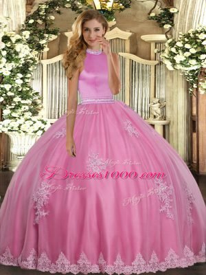 Glorious Rose Pink Sleeveless Beading and Appliques Floor Length 15 Quinceanera Dress