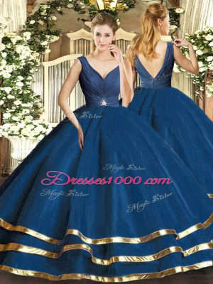 Pretty Floor Length Backless 15 Quinceanera Dress Teal for Sweet 16 and Quinceanera with Beading and Ruffled Layers