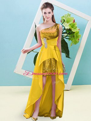 Clearance High Low A-line Sleeveless Gold Evening Dress Lace Up