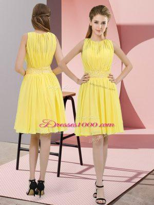 Simple Yellow Zipper Scoop Sequins Bridesmaid Dress Chiffon Sleeveless