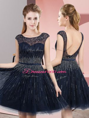 Artistic Navy Blue Homecoming Dress Prom and Party with Beading Scoop Sleeveless Backless