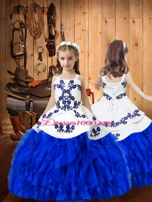 Royal Blue Lace Up Straps Embroidery and Ruffles Womens Party Dresses Organza Sleeveless