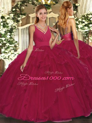 Ball Gowns Sweet 16 Dress Fuchsia V-neck Tulle Sleeveless Floor Length Backless