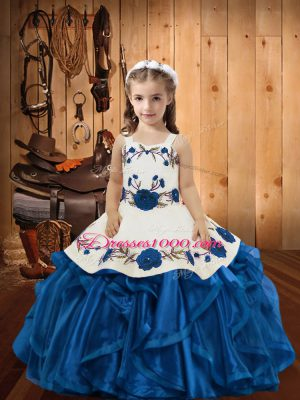Perfect Ball Gowns Little Girl Pageant Dress Blue Straps Organza Sleeveless Floor Length Lace Up