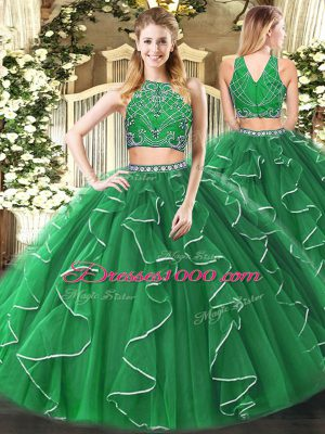 Glorious Green Sleeveless Tulle Zipper Quinceanera Dresses for Military Ball and Sweet 16 and Quinceanera