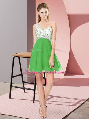 One Shoulder Sleeveless Criss Cross Prom Dresses Green Chiffon