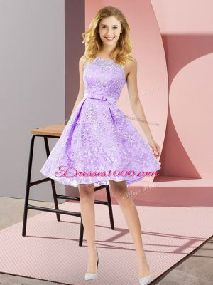 Free and Easy Lace Scoop Sleeveless Zipper Bowknot Court Dresses for Sweet 16 in Lavender