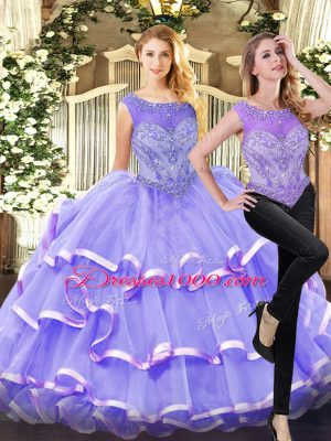 Lavender Organza Lace Up Quinceanera Dresses Sleeveless Floor Length Beading and Ruffled Layers