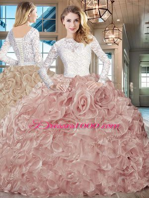 Lace and Fading Color Long Sleeves 15th Birthday Dress Brush Train and Lace and Ruffles