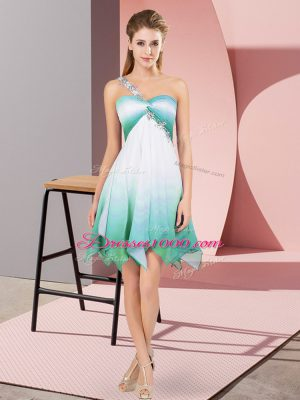 Multi-color Fading Color Lace Up One Shoulder Sleeveless Asymmetrical Dress for Prom Beading