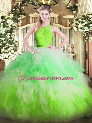 Multi-color Zipper Quinceanera Dress Ruffles Sleeveless Floor Length