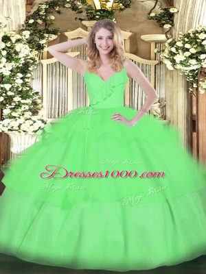 Graceful Organza Zipper Spaghetti Straps Sleeveless Floor Length Sweet 16 Dresses Ruffled Layers