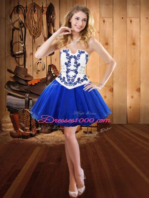 Popular Royal Blue Lace Up Dress for Prom Embroidery Sleeveless Mini Length
