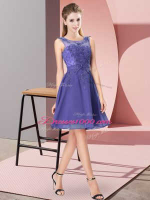 Luxury Sleeveless Zipper Knee Length Appliques Damas Dress