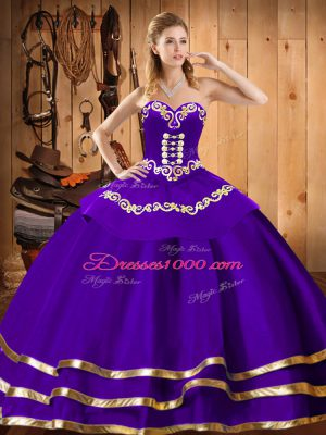 Sleeveless Organza Floor Length Lace Up 15th Birthday Dress in Purple with Embroidery