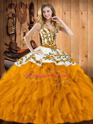 Floor Length Lace Up Sweet 16 Dresses Gold for Military Ball and Sweet 16 and Quinceanera with Embroidery and Ruffles