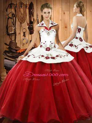 Sumptuous Wine Red Lace Up Quinceanera Gowns Embroidery Sleeveless Floor Length