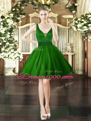 Dark Green V-neck Lace Up Beading Prom Evening Gown Sleeveless