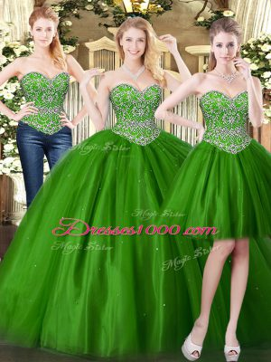 Exceptional Ball Gowns Quince Ball Gowns Dark Green Sweetheart Tulle Sleeveless Floor Length Lace Up