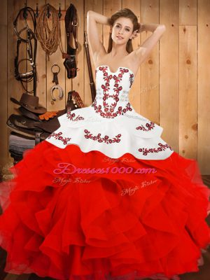 Superior Embroidery and Ruffles Quinceanera Dresses White And Red Lace Up Sleeveless Floor Length