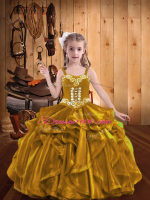 Gold Sleeveless Floor Length Embroidery and Ruffles Lace Up Custom Made Pageant Dress