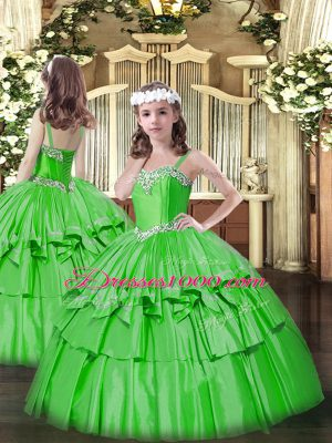 Hot Selling Green Ball Gowns Beading and Ruffled Layers Pageant Dress Womens Lace Up Organza and Taffeta Sleeveless Floor Length